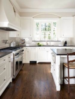 Cozy white kitchen with dark floors 06