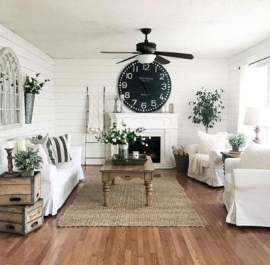 Fabulous farmhouse living room decor design ideas 21