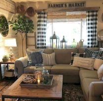 Fabulous farmhouse living room decor design ideas 34