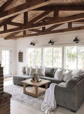 Gorgeous farmhouse living room decor design ideas 31