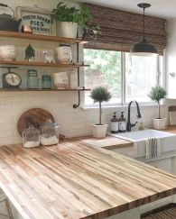 Impressive farmhouse country kitchen decor ideas 12