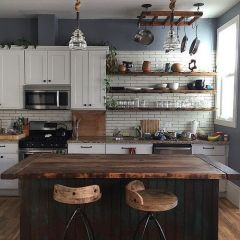 Impressive farmhouse country kitchen decor ideas 35