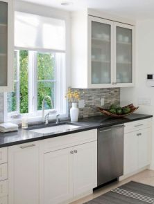 Most popular grey and white kitchen curtains ideas 40