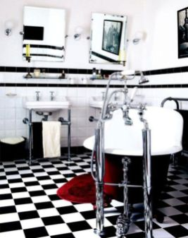 Most popular red black and white bathroom decor ideas 14
