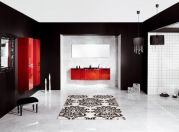 Most popular red black and white bathroom decor ideas 15