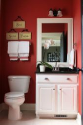 Most popular red black and white bathroom decor ideas 18