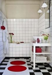 Most popular red black and white bathroom decor ideas 19