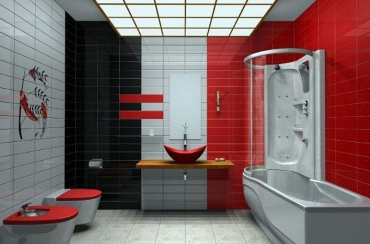 44 Most Popular Red Black And White Bathroom Decor Ideas Roundecor