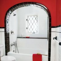 Most popular red black and white bathroom decor ideas 40
