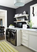 Outstanding black and white laundry room ideas 38