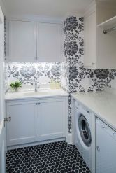 Outstanding black and white laundry room ideas 41