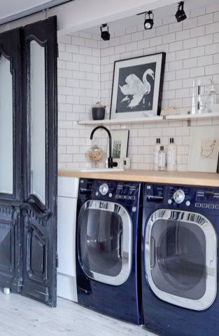 Outstanding black and white laundry room ideas 50