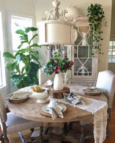 Amazing dinning room ideas with natural farmhouse style 36
