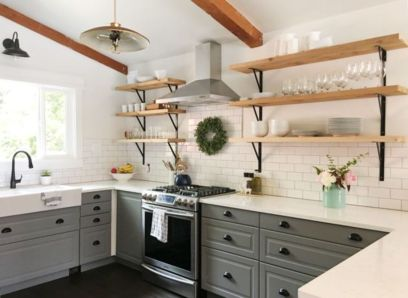 Stylish modern farmhouse kitchen makeover decor ideas 15