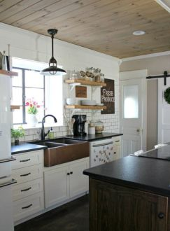 Stylish modern farmhouse kitchen makeover decor ideas 21