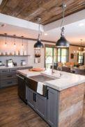 Stylish modern farmhouse kitchen makeover decor ideas 26