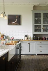 Stylish modern farmhouse kitchen makeover decor ideas 47