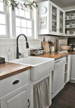 Stylish modern farmhouse kitchen makeover decor ideas 48