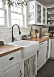 Stylish modern farmhouse kitchen makeover decor ideas 48