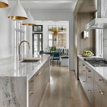 Stylish modern farmhouse kitchen makeover decor ideas 52