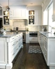Stylish modern farmhouse kitchen makeover decor ideas 59