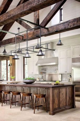 Stylish modern farmhouse kitchen makeover decor ideas 60