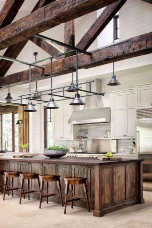 Stylish modern farmhouse kitchen makeover decor ideas 60