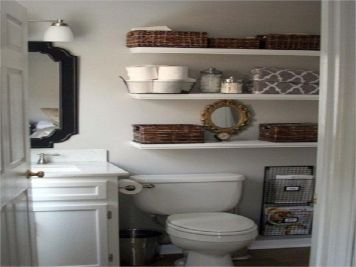 Lovely diy bathroom organisation shelves ideas 04