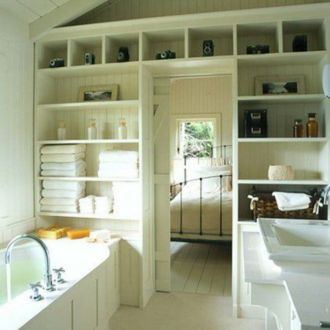 Lovely diy bathroom organisation shelves ideas 29