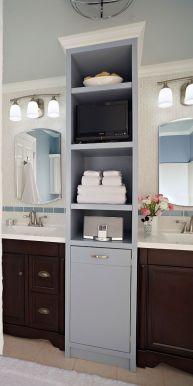 Lovely diy bathroom organisation shelves ideas 38