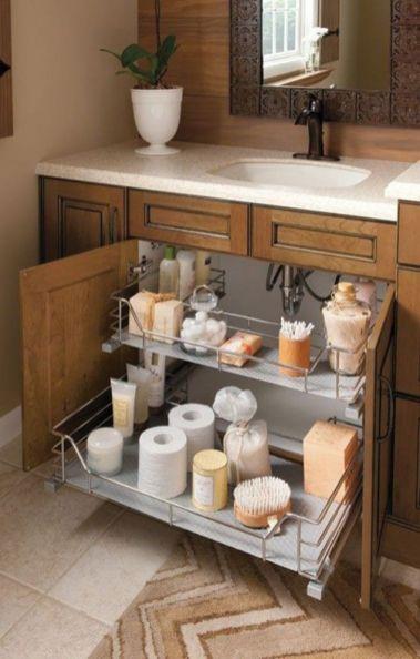 Lovely diy bathroom organisation shelves ideas 47