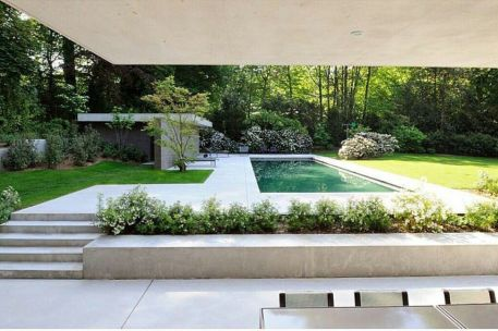 Minimalist small pool design with beautiful garden inside 30