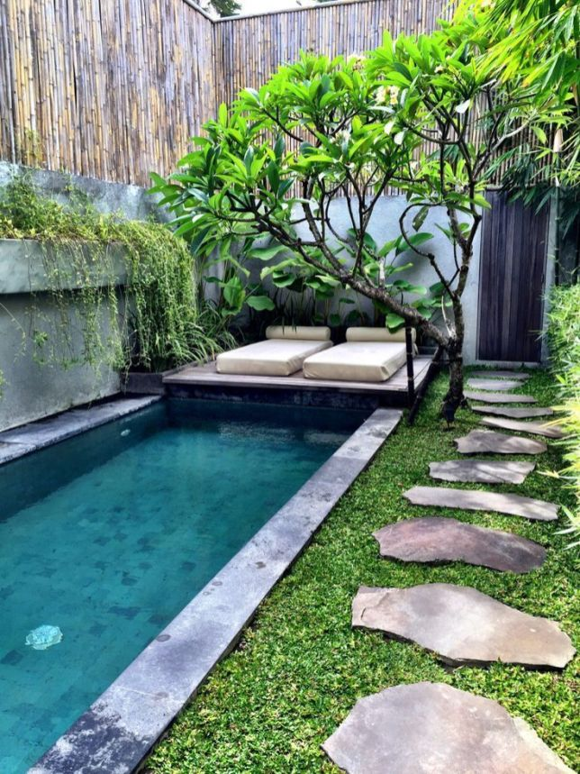 Minimalist small pool design with beautiful garden inside 34