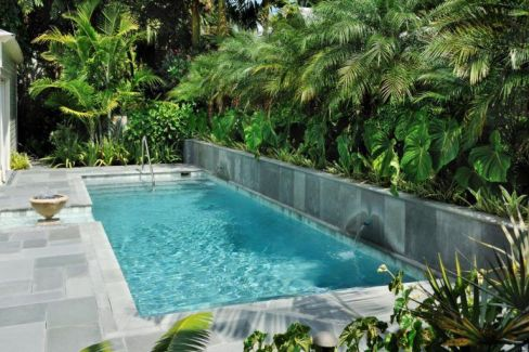 Minimalist small pool design with beautiful garden inside 35