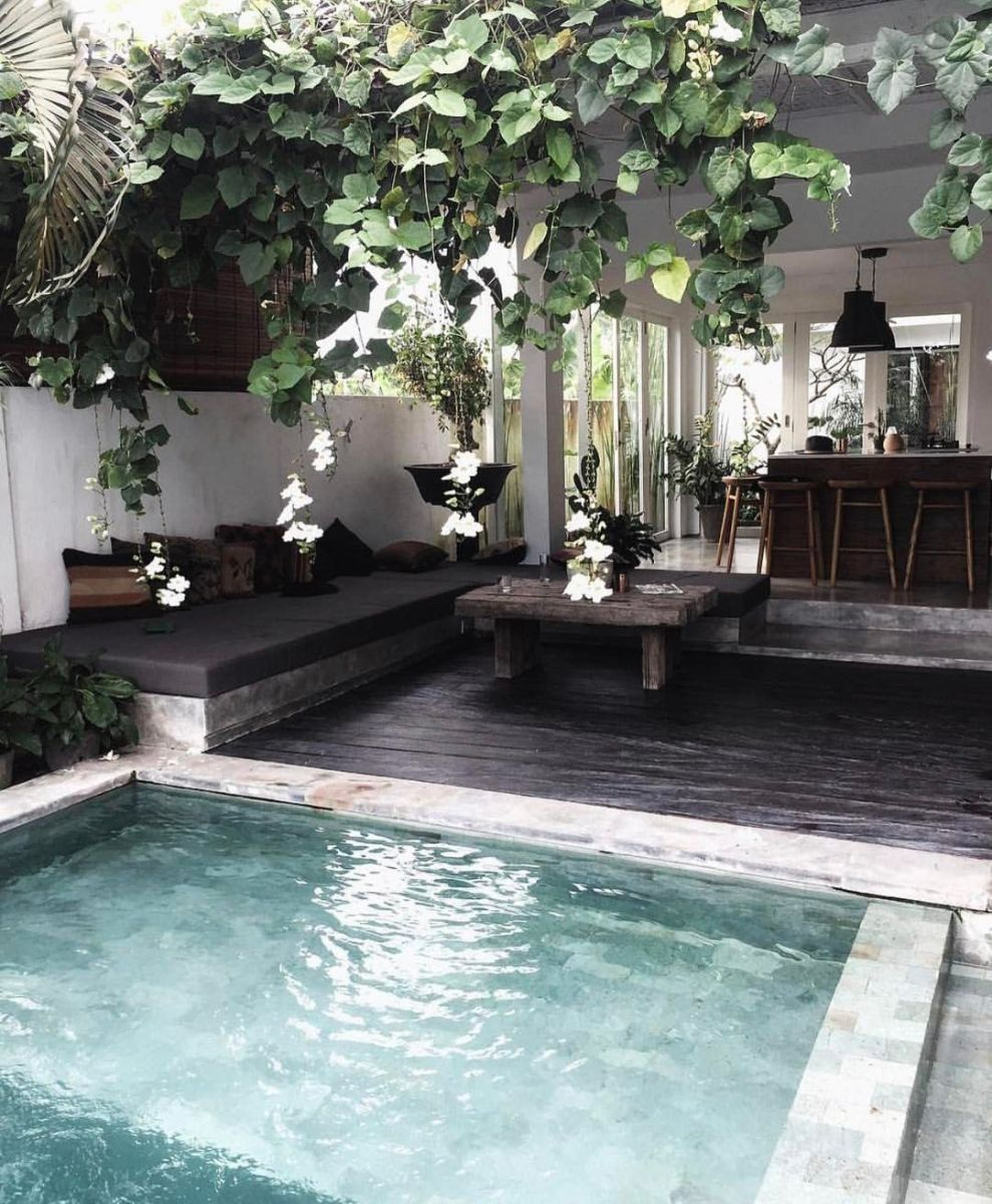 Minimalist small pool design with beautiful garden inside 39