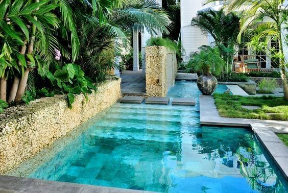 Minimalist small pool design with beautiful garden inside 43