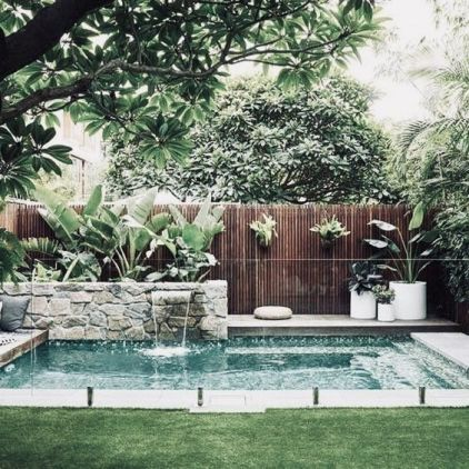 Minimalist small pool design with beautiful garden inside 49