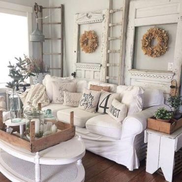 Romantic rustic farmhouse living room decor ideas 38