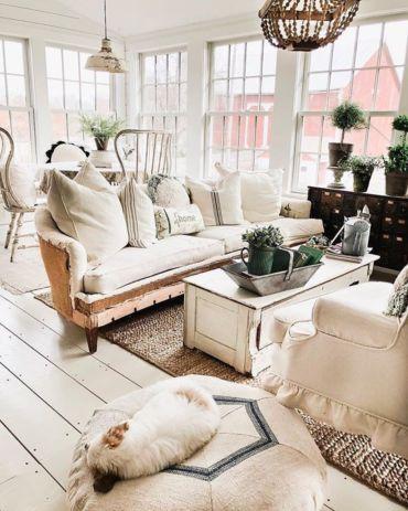 Romantic rustic farmhouse living room decor ideas 42