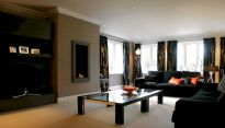 Amazing living room paint ideas by brown furniture 16