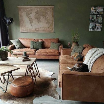 Amazing living room paint ideas by brown furniture 40