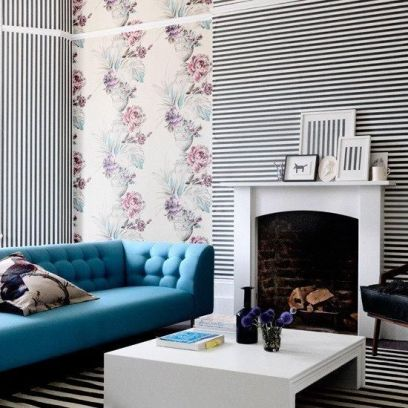 Fascinating striped walls living room designs ideas 39