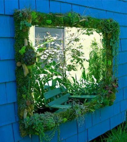 Inspiring outdoor garden wall mirrors ideas 24