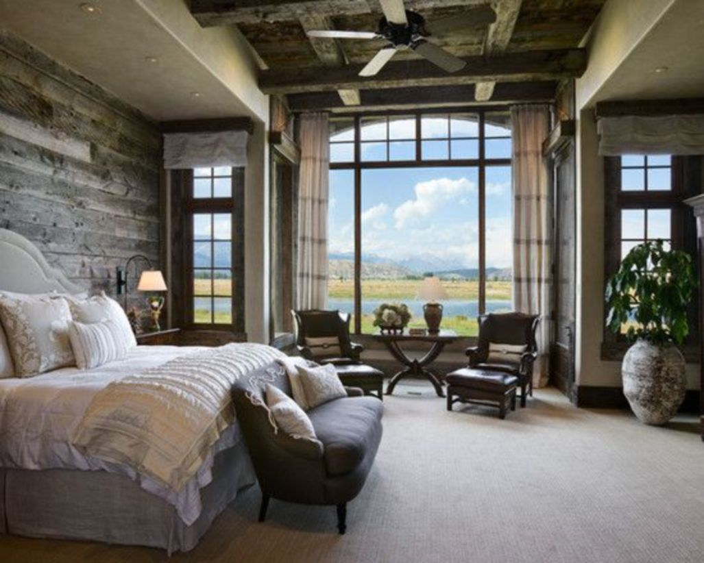 Pretty bedroom designs ideas with exposed wooden beams 25