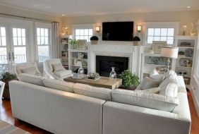 Stylish coastal living room decoration ideas 20