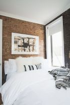 Modern faux brick wall art design decorating ideas for your bedroom 06
