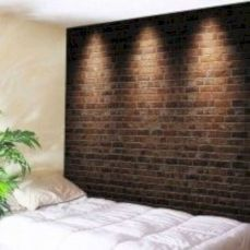Modern faux brick wall art design decorating ideas for your bedroom 19