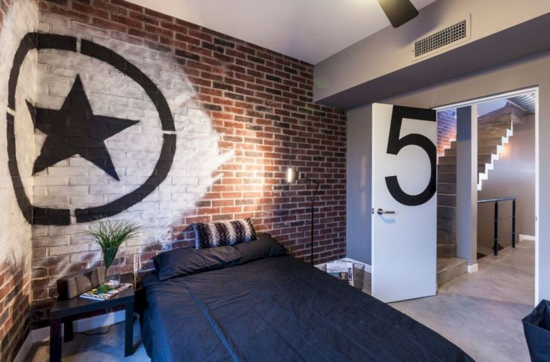 Modern faux brick wall art design decorating ideas for your bedroom 23
