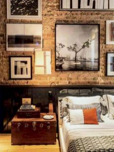 Modern faux brick wall art design decorating ideas for your bedroom 34