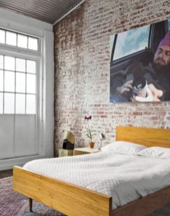 Modern faux brick wall art design decorating ideas for your bedroom 35